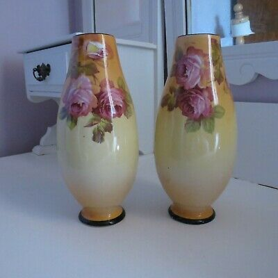 Pair of Victorian blush vases pretty pink roses & swallow
