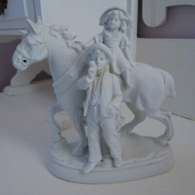 Antique white bisque porcelain figurine girl on draught horse & man