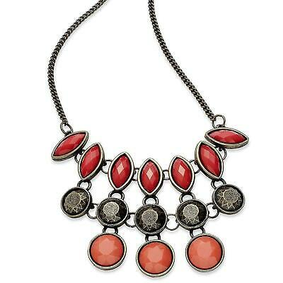 """American Rag 16"""" Brass-Tone, Coral-Colored Faux-Stone Statement Necklace NWT"""