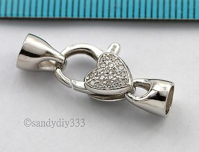 1x Rhodium plated STERLING SILVER HEART CZ BEADING CORD END CAP CLASP #2742