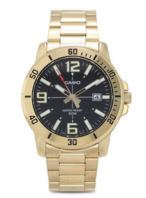 Casio Men's Enticer Black Dial Gold Tone Stainless Steel Watch MTPVD01G-1B