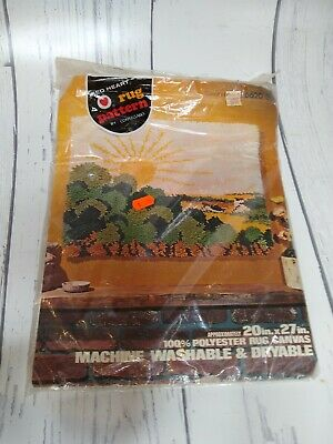 """Coats & Clark Red Heart Latch Hook Rug Pattern 6620-35 Country Morning 20"""" x 27"""""""