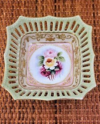"""Vintage Beckwith China Japan Handpainted 5"""" Square Dish with Reticulated Frame"""