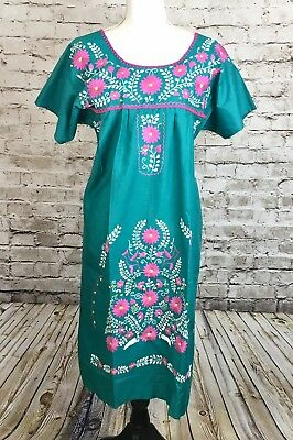 0d340b2a0d9c5 NAVY BLUE BOHO Vintage Style Hand Embroidered Tunic Mexican Dress ...