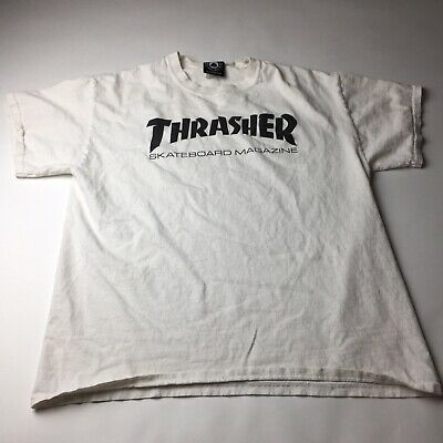 04bddbab0f5a Thrasher Skateboard Magazine White Men s Short Sleeve T-Shirt Size M L
