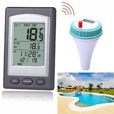 Remote Floating Wireless Swimming Pool Water Solar Thermometer Temperature Kit