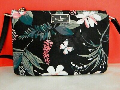 Kate Spade New York Wilson Road  Black Botanical Madelyne Crossbody Wkru5752