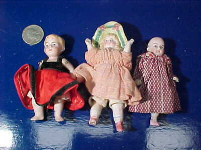 "3-Early 20thc BISQUE Hand Painted MINIATURE GIRL 3"" DOLLS Made in GERMANY"