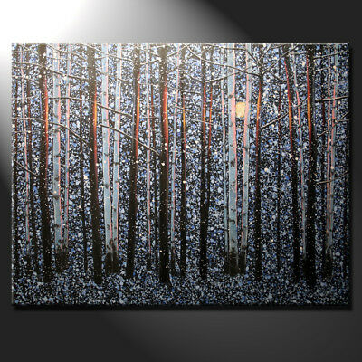 Original Large Oil Painting Canvas Forest Trees Office Interior Design GeeBeeArt