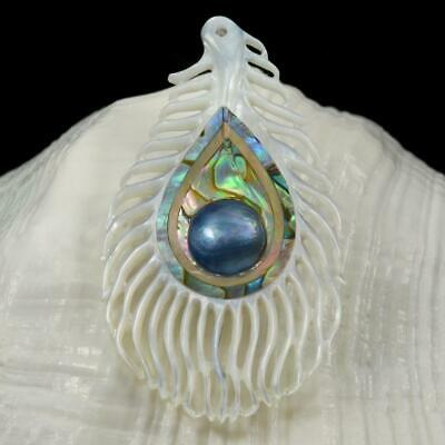 Multicolor Paua Abalone Shell Carving & Mabe Pearl Peacock Feather Pendant 10.58