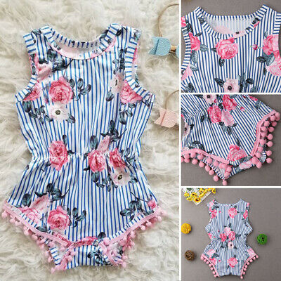USA Fashion Newborn Toddler Baby Girls Floral Stripe Outfits Sets Clothes 0-18M