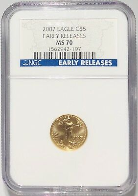 2007 $5 American Gold Eagle PCGS MS70 First Day of Issue Perfect Grade AGE Coin