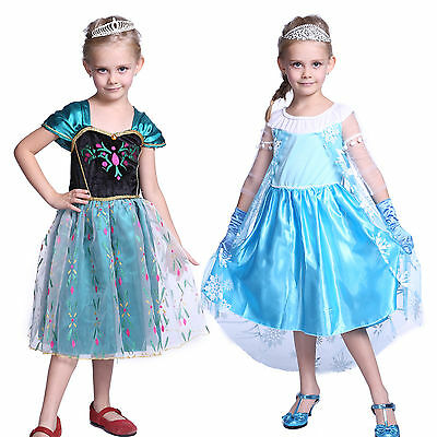 Deguisement costume fille elsa anna 2-6 an robe reine neiges Frozen anniversaire