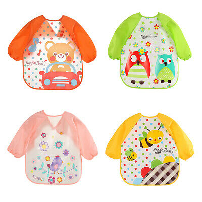 Baby Toddler Waterproof Long Sleeve Bibs Apron Kids Cartoon Feeding Smock Bowl