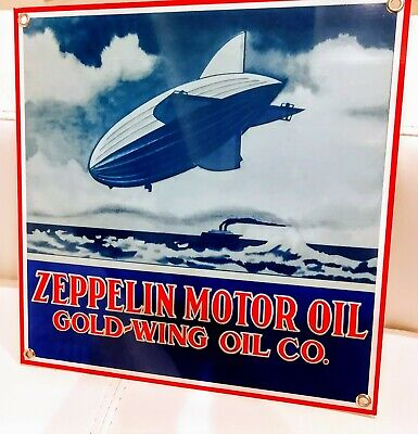 Zeppelin Motor Oil Gas gasoline sign ...FREE shipping 10 or more signs