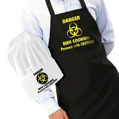 Danger Man Cooking Apron and Chef's Hat Set – Novelty Funny Mens Gadgets Cooki