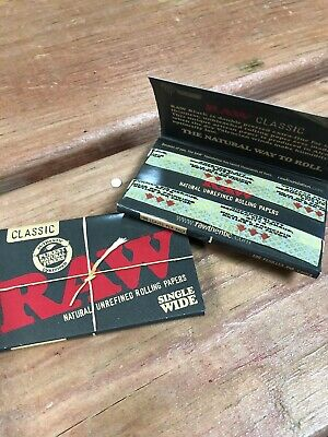 2 Packs Raw Black Single Wide Natural Unrefined Rolling Papers 100 Leaves Per