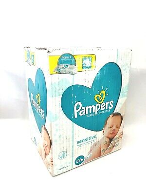 Pampers Sensitive Water-Based Baby Wipes - 9 Refill Packs - Unscented, 576 Count