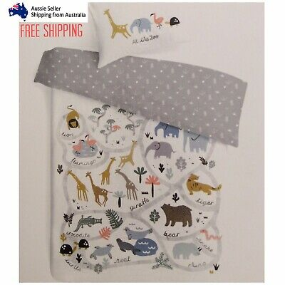 Baby Bedding Reversible Cot Quilt Cover Set Pillowcase Nursery Bed Animals Zoo