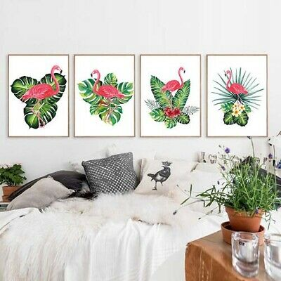 Plant & Animal Canvas Painting Picture Flamingo Green Leaf Wall Poster Print Art