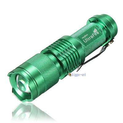 7W 1200lm NEW Q5 LED Mini Zoomable Flashlight 14500/AA Torch Green PK