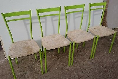 Vintage Mid-century Modern Four French Metal Chairs with Twisted Seagrass Rush