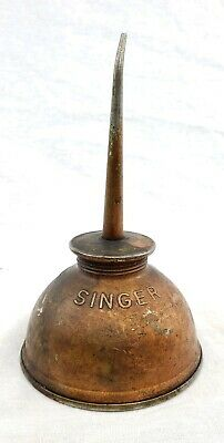 Antique Vintage Singer Sewing Machine Oiler Small Tin Oil Can Embossed SINGER
