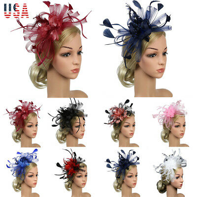 Cocktail Party Hat Womens Sinamay Fascinator Wedding Church Kentucky Derby  Dress e56a1a383910