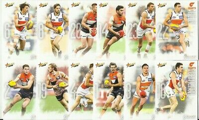 2019 afl select FOOTY STARS GWS GIANTS COMMON BASE TEAM SET 12 CARDS