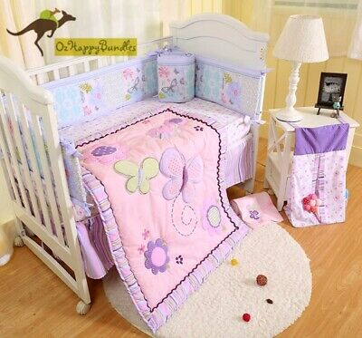 New Baby Girls 9 Pieces Cotton Nursery Bedding Crib Cot Sets-- Purple Butterfly