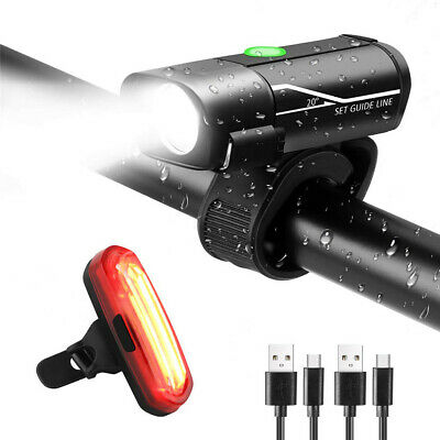 USB Rechargeable Waterproof Bicycle Light Set Cycling Front Light+Rear Lights