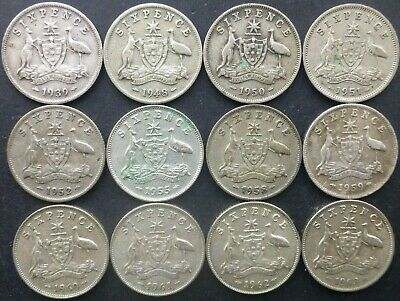 Australian Sixpence Lot Various Dates