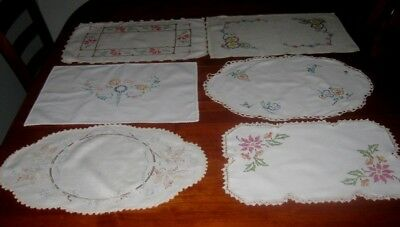 6 Large Vintage Hand Embroidered Centre Pieces/doilies~Cotton/linen~Lace Edged