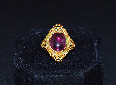 Certified Natural Tourmaline 18K 750 Solid Gold Etruscan Byzantine Filigree Ring
