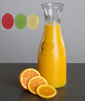 1 Litre Glass Carafe Jug Juice Water Tip Jug With Coloured Tight Lids