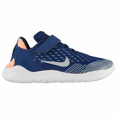 Nike Free RN 2018 Girls Running Shoes Blue/Silver Trainers Footwear