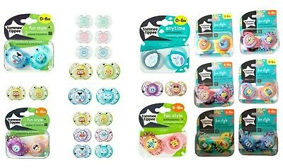 Tommee Tippee 0-6m / 6-18m Pack of 2 Orthodontic Baby Soother Dummy BPA Free New