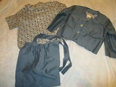 Antique Vtg 40s 50s Hi-Line Boys Easter Suit Short Set Blazer Paisley Shirt Shor