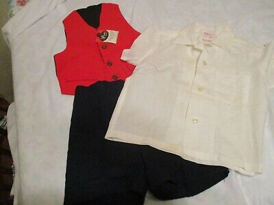 Antique Vtg 40s 50s  Boys Easter Suit 3 Piece Short Set- Vest Shirt Shorts Sz 5