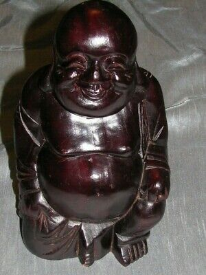 "Vintage Solid Wood Carved Buddha Figurine 9 1/2"" tall Asian"