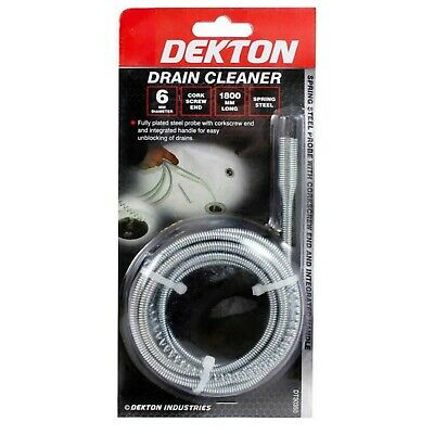 Dekton Drain Cleaner Steel Probe Unblock Drains Flexible Unblocker Clog Tool