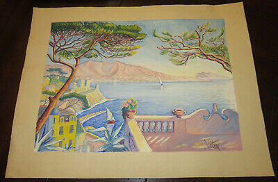 Two original vintage French watercolors on paper, signed Viton