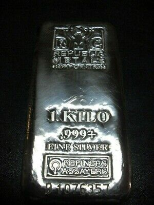 One Kilo,1 Kilo, RMC 999 Silver Bar, Republic Metals Corporation, A#1