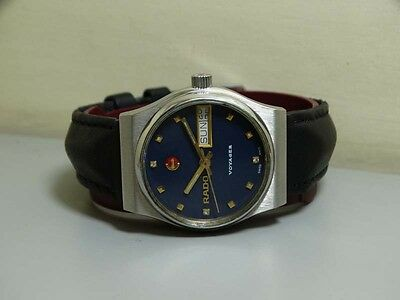 Vintage Rado Voyager AUTOMATIC Day Date Wrist Watch E783 Old Used Antique