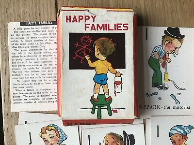 Vintage Happy families Card Game 40 Cards With Instructions & Box