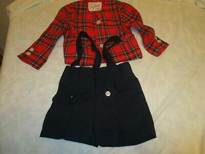 Antique Vtg 40s 50s Boys Oxford Easter Suit Short Set Red Plaid Navy Shorts