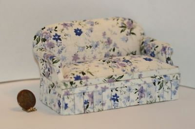 Dollhouse Miniature 1:12 Comfy Sofa Upholstered in Blue Floral on White