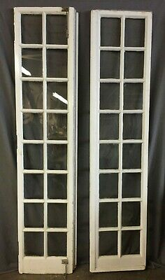 Pair Antique 16 Lite Entryway Sidelights French Doors Vintage 18X79 234-19C