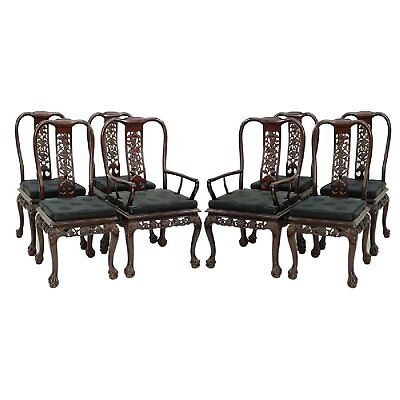 Set of 8 Chinese Chippendale Style Mahogany Dining Chairs