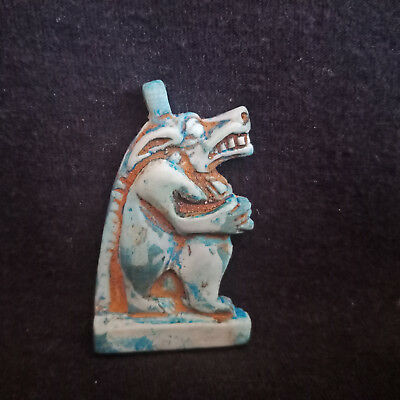 CIRCA 712-332 BC Taweret Amulet Egyptian AntiqueS Faience Toeris